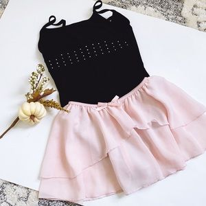 Girls Ballet &Short Sleeve Leotard Wrap Skirt